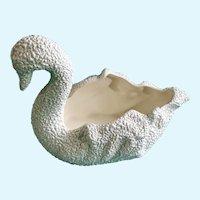 Mid-Century White Swan Ceramic Vase