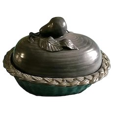 Gorgeous Rare Pear Basket Large Casserole Vintage Chanticleer Pottery Oven Bowl Baking and Serving Dish with Lid