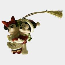 Mickey & Minnie Mouse Dancing Christmas Tree Ornament Porcelain Figurine Lenox 1st Christmas Together