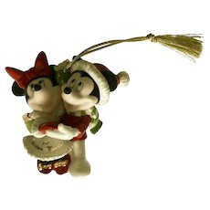 Mickey & Minnie Mouse Dancing Christmas Tree Ornament Porcelain Figurine Lenox 1st Christmas Together