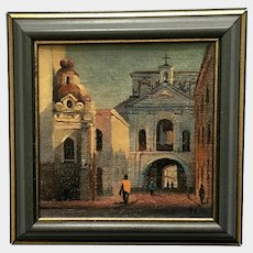 Miniature Picture of a Church Build Over an Alley Passage in Rome Enhanced Giclee Print with Oil Painting
