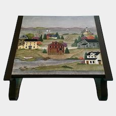 Folk Art Footstool New England Colonial Town Oil Painting Signed by Artist Springfield Hand Painted