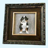 Little Saint Bernard Dog Puppy Portrait Oil Painting Signed by Artist Jean Proctor