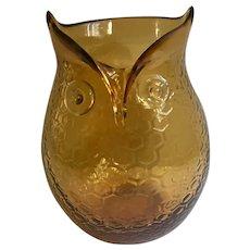 Vintage Amber Glass Owl Bird Vase Hand Blown