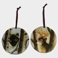 Wolf and Buck Deer Glass Ornaments Christmas or Decoration