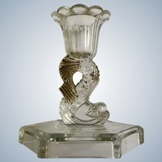 Vintage Dolphin Fish Glass Candlestick Holder with Gold Highlights Hexagon Base