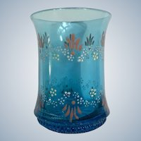 Antique Victorian Enamel Beverage Glass Tumbler Blue Floral Hand Painted Flowers