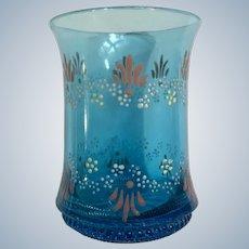 Antique Victorian Enamel Beverage Glass Tumbler Blue Floral Hand Painted Flowers