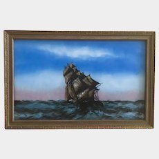 American Nautical Sailing Clipper Ship 19th Century Reverse Glass Painting