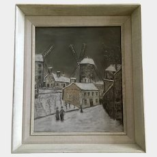 Effri C Nelson, Figural People in French Town Mixed Media Pastel Painting
