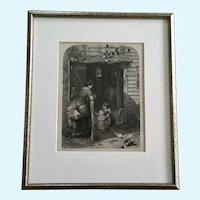 The Mill Door C J Lewis, J C Armytage Sculpt Vintage Etching London England