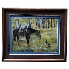 H Scrimp, Man's Best Friends, Horse and Dog in Rural Landscape Oil Painting Signed by Artist