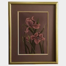 Linda Sprigg, Mauve Iris Flowers Still Life Tempera Watercolor Painting Signed by Artist