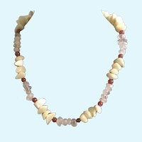 "Polished Stones and Shells Cream & Clear Necklace 17"" Long"