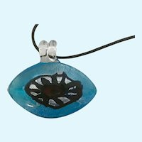 Blue Eye with Red Pupil Greece Glass Pendant on Black Necklace