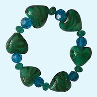 Vintage Glass Heart Bracelet with Sparkling Crystal Blue and Green Beads on Stretchy Band