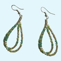 Dangling Loops of Green, Blue and Amber Beads with Fishhook Loops for Pierced Ears