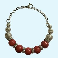 Red Glass Beads with Rhinestone Separators on Silver-Tone Chain Bracelet