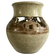 Pueblo Indians Southwestern Vase Pierced Window Cutouts Stoneware Signed by Artist Sanata or Ganata