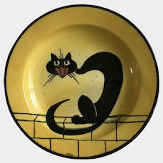 Antique Black Cat Watcombe Torquay England John Barker Extremely Rare Pottery Plate