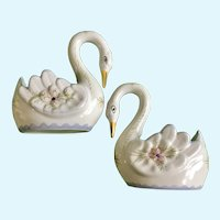 Vintage Graceful Swan Figurines Planter Vases HOLU Portugal Hand Painted