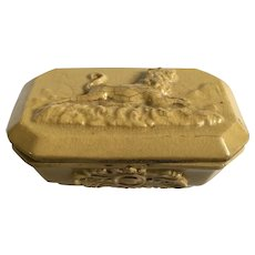 Antique Yellow Ware Lion Decorated Raised Relief Match Striker Safe Yellowware Pottery Trinket Box EE