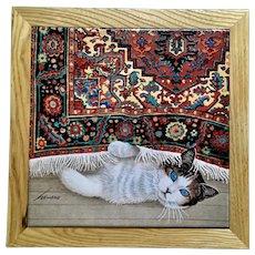 Blue Eyed Kitty Cat by Persian Rug Lowell Herrero Framed Porcelain Tile Trivet Japan