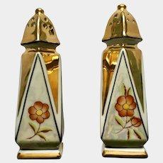 Beautiful Vintage Japanese Iridescent Gold and Orange Flower Salt and Pepper Shakers Porcelain S&P Japan