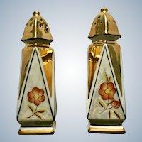 Salt and Pepper Shakers Iridescent Gold and Orange Flower Beautiful Vintage Japanese Porcelain S&P Japan