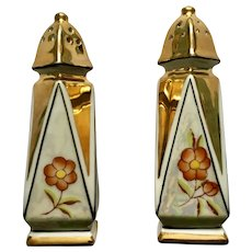 Salt and Pepper Shakers Iridescent Gold and Orange Flower Beautiful Vintage Japanese Porcelain S&P Japan