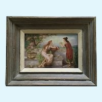 Two Grecian Woman in Surreal Landscape Oil Painting Enhanced Stone Lithograph Print