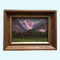 Small Matterhorn Mountain Valley Landscape Oil Painting