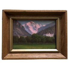 Small Matterhorn Mountain Valley Landscape Oil Painting