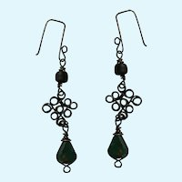 Vintage Dangling Wire Filigree with Polished Natural Stone Fishhook Earrings