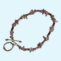 "Purple Beaded Bracelet 8-1/4"" Long"
