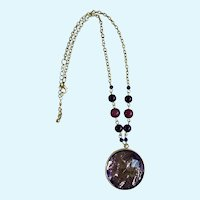 "Purple Medallion Necklace Silver-Tone Chain 20"" Long"