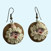 Christmas  Santa Claus Cookie Earrings with Fishhook Loops for Pierced Ears