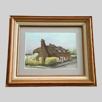 G Albrow, English House with Horseshoes Watercolor Painting Signed by Artist