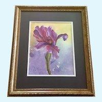Purple Iris Flower Portraiture Original Watercolor Painting Signed Janet