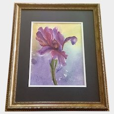 Purple Iris Flower Portraiture Original Watercolor Painting Signed Janet