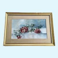 Caroline Mitchell, Roses Still Life Floral 19th Century Watercolor Painting