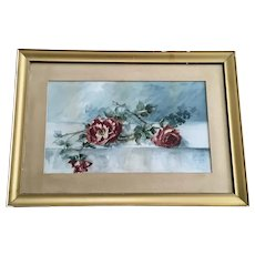 Caroline Mitchell, Red Roses Still Life Floral 19th Century Watercolor Painting Signed by Artist