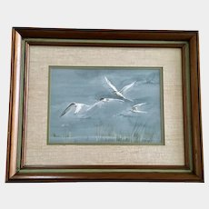 J Knowles, Caspian Tern Waterfowl Birds In flight Over Reeds Original Watercolor Painting Signed by Artist