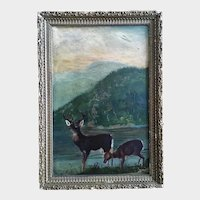 Buck and Doe Deer Primitive 19th Century Oil Painting
