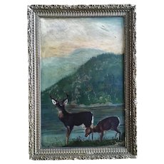 Buck and Doe Deer Primitive 19th Century Oil Painting