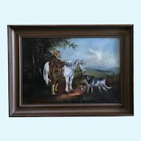 Man Hunting Early American Primitive Colonial Folk Art Oil Painting