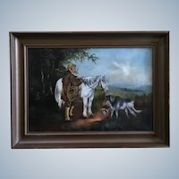 Early American Primitive Colonial Folk Art Oil Painting Man with Horse and Dogs Hunting Monogrammed KC