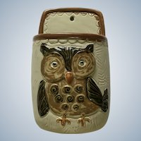 Vintage Hoot Owl Bird Wall Pocket San Francisco Pottery Counterpoint Stoneware Made in Japan