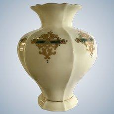 "Vintage Catalan Lenox Gold and Green Vase 7-1/8"" Tall"