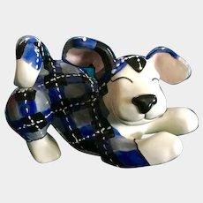 Playful Patchwork Puppy Dog Lacombe Annaco Creations Ceramic Figurine Retired 2007